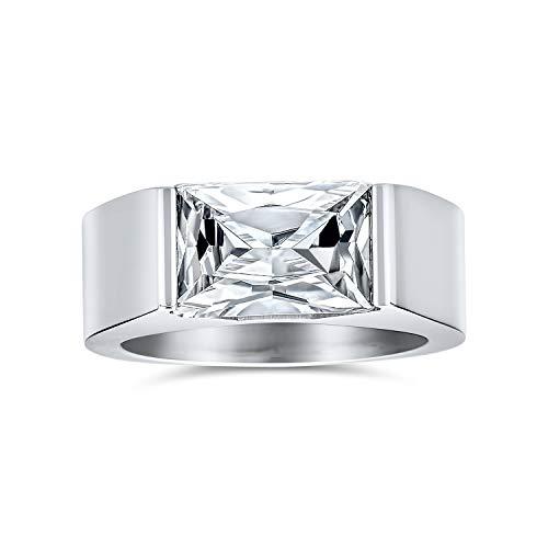 Bling Jewelry 4Ct Geométrica Zirconio Cúbico Cuadrado Talla Esmeralda CZ Anillo De Compromiso De Los Hombres Acero Tono Plata
