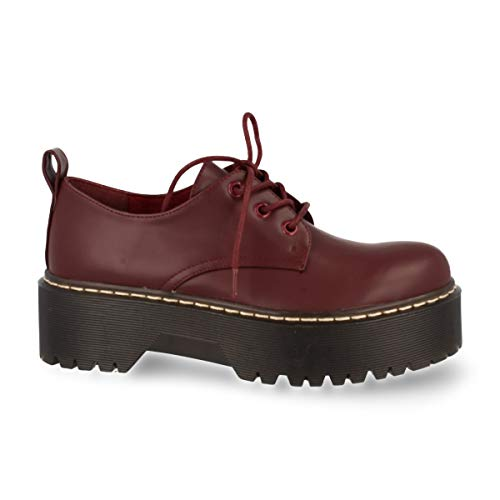 Zapato de Mujer de Doble Suela Comodos con Plataforma y Cierre de Cordones. Otono Invierno 2019. Talla 40 Burdeos