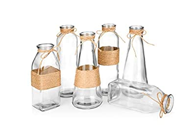 UNIQUE DESIGN: Thanks to their special rope design, these glass vases can enhance your interior space of the style and atmosphere better! *Plants not included.* HIGH QUALITY: The glass vases are made of only high quality material and will never toppl...