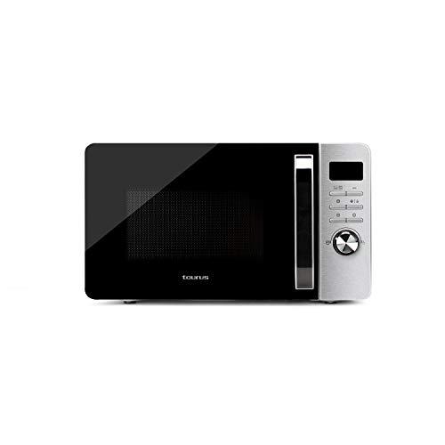 Taurus Fastwave 23L Digitale Mikrowelle – Eco-Modus, 800 W, Grill 900 W, Auftauen, Multicook, QuickStart, programmierbar, Auto-Clean-Beschichtung, 99 min, Tec, SmartHeat, 455 x 342 x 26 mm, Edelstahl.