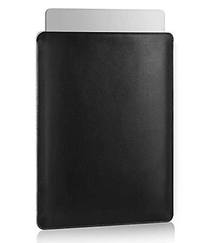 MoKo 13.3 Pulgadas Funda Ordenador Portátil, Protectora de Cuero PU Bolsa Laptop Sleeve Compatible con MacBook Air M1 13.3 2020, MacBook Pro M1 13.3 2020, Negro