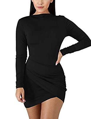 Fabrics: 95% Polyester,5% Spandex, The ruched mini dress is soft, high stretchy, warm and not see through Design: The tight dress features a stretch fabric, ruched long sleeves and side, ruffled detail, and mock neckline, wrap front, Simple classic, ...