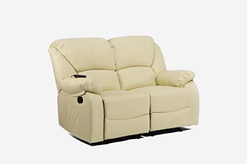 ECODE - Divano Massaggiante a Due posti, reclinabile con Massaggio a Onde Vibranti, Calore Lombare, Ecopelle ECO-8590/2 Beige