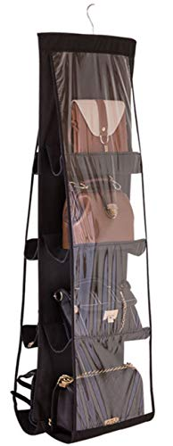 31QNFZUKaVL ✔️Material: Polyester Fiber+PVC ,Durable,Washable and Easy to Clean ✔️Practical design:This hanging handbag closet organizer saves closet shelf space while neatly storing medium size purses, small blankets, sheets, towels, adult handbag,shoulder bags, shoes, sweaters to baby clothing, toys.and other accessories ✔️8 Pockets :Each side have 4 pockets,suitable for Less than13.8*9.8 in,smallpurse one-shoulder bag,oblique bag medium-sized handbags,Winter bags