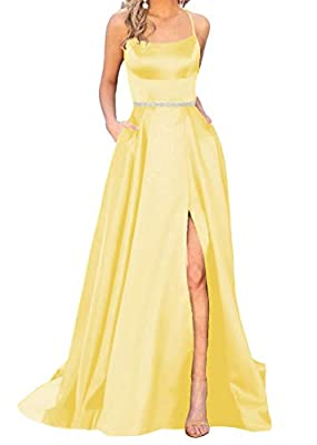 Features: Halter Prom Dress,A-Line,Spaghetti Straps, Satin ,prom dresses with pockets, Slit, Backless, Sleeveless, Corset/Cross Back, Plus Size yellow prom dress , Built In Bra, Floor Length Long, with Beaded Belt, Empire Waist,Bridesmaid Dresses, We...