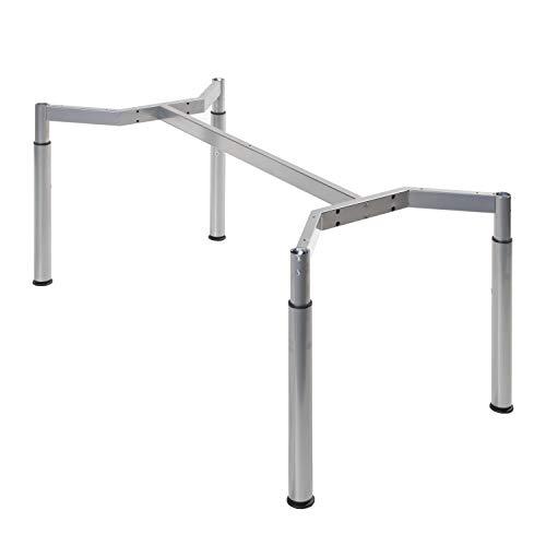boho möbelwerkstatt Schreibtischgestell, Konferenztischgestell, Tischgestell, höheneinstellbar in Silber RAL9006 für Tischplatten von 160 x 80 cm