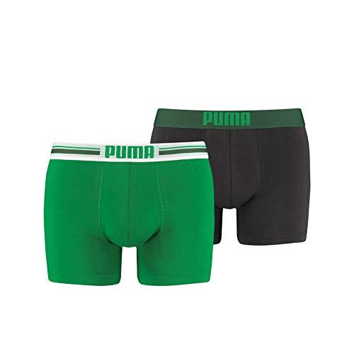 Puma Placed Logo - Pack de 2 bóxers para hombre, color verde/gris, talla L