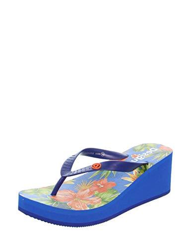 Desigual Shoes Lola Tropical, Infradito Donna, Blu Azul Lovely 5099, 41 EU