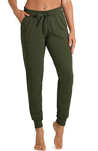 icyzone Women's Active Joggers Sweatpants - Athletic Yoga Lounge Pants with Pockets (Army, L) 1