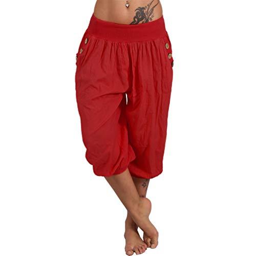 Pantaloni leggeri a 3/4 estivi Capri con bottone, motivo floreale Harem Aladin, per il tempo libero Rosso tinta unita. Taglia Unica