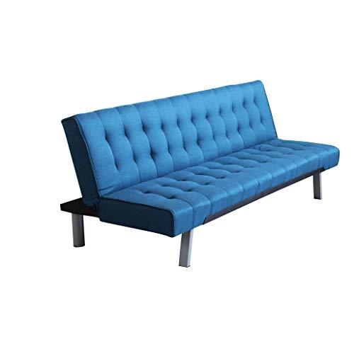 Divano Letto Stile Moderno Di Design Contemporaneo Trapuntato Blu Per Salotto Casa Hotel Albergo, Stile Moderno, 3 Posti Struttura Metallo E Legno, D. 178 X 80 X 72 / Dl. 178 X 92 X 35