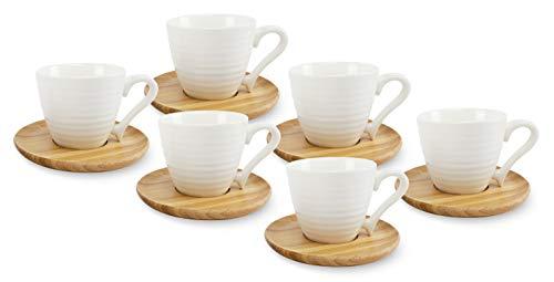 BuyStar Set di 6 Tazzine da caffè Bianche con Piattino in Legno