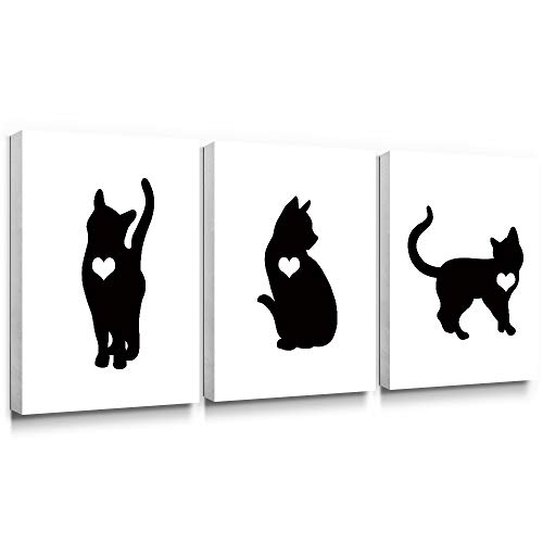 Gronda Animal Canvas Wall Art Black Cat Painting Framed Simple Artwork Home Decor Pictures Ready to Hang for Living Room Bedroom Bathroom Hallway 12×16 Inch, 3 panels