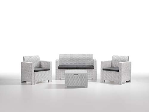 Bica 9067 Set Nebraska Salottino 4 Posti, Bianco, 281 x 155 x 79 cm