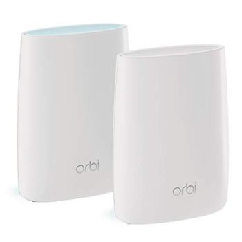 NETGEAR Système WiFi Mesh Tri-Bandes Orbi (RBK50), AC3000, pack de 2, un WiFi partout dans la maison, WiFi beaucoup plus performant que votre box, 350m², idéal pour les murs épais, Contrôle Parental