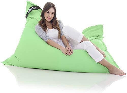 Lazy Bag Poltrona a Sacco Originale XXL 400L Beanbag Gigante in Cotone 180x140 cm (Verde)
