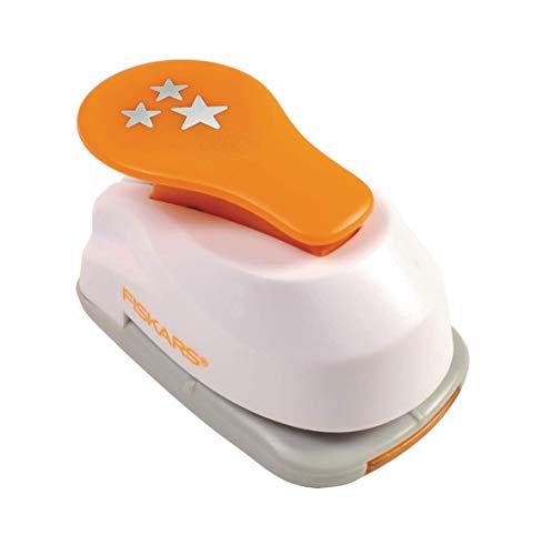 Fiskars Lever Punch Perforatore Fantasia, Stella, Plastic, Arancione/Bianco, S