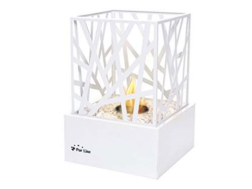 PURLINE AMALTEA W Table Bio-Ethanol Fireplace for Indoor or Outdoor use with White Design