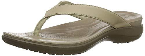 Crocs - Capri V Flip, Sandali Donna, Beige (Chai/Walnut), 34/35 EU