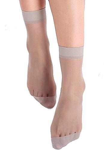Gambaletti donna velati - calzini corti alla caviglia - leggeri - colore grigio - confezione 5 paia - Idea regalo Natale e compleanno