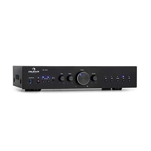 AUNA AV2-CD608BT HiFi-StereoVerstärker, Ausgangsleistung: 4 x 100 Watt RMS, Bluetooth, USB-Port für MP3-Files, Eingänge: 1 x Digital Optisch / 4 x Stereo-RCA, Infrarotfernbedienung, schwarz