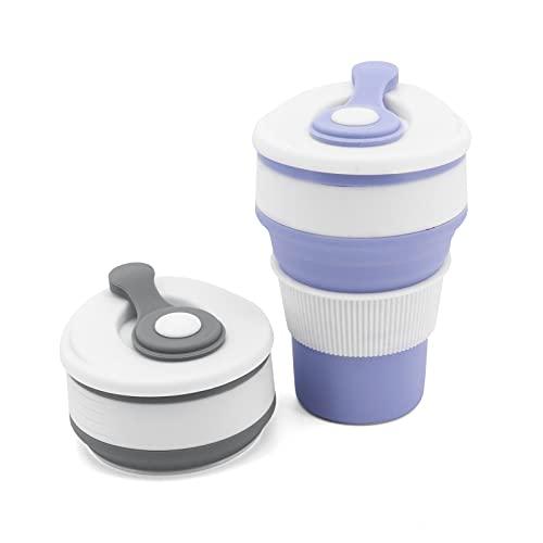 Beowanzk Lot de 2 Tasses Gobelet Pliable Silicone Retractable Mug de Voyage...