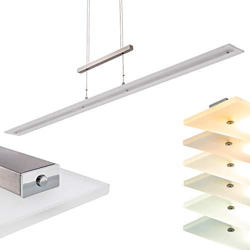 LED Pendelleuchte Junsele, dimmbare Hängelampe aus Metall in Chrom/Nickel-matt mit Tastdimmer, höhenverstellbar, 30,1 Watt u. 2900 Lumen (insgesamt), Lichtfarbe schaltbar 2700, 3350 u. 4000 Kelvin