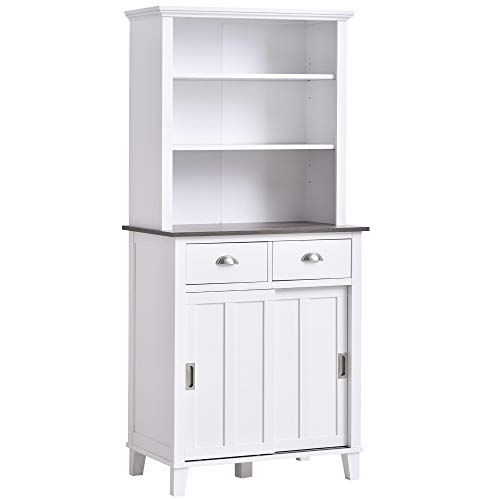 HOMCOM Freestanding Kitchen Pantry Cabinet Cupboard with Sliding Doors...