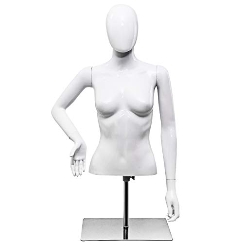 Giantex Female Mannequin Torso Adjustable Height Detachable Arms Dress Form Display w/Metal Stand, Bright White