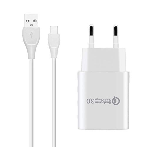 BERLS Caricabatterie Quick Charge 3.0 + Cavo USB Type C per Smartphone Samsung Galaxy S10 / S10 E/ S9 / S9 Plus / S8 / S8 Plus, Note 8 Note 9 A3 A5 2017 2018, A7(2017),Huawei Honor, LG
