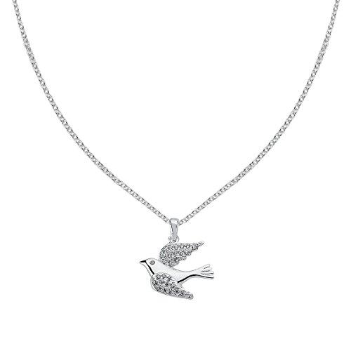 Vinani Pendentif Oiseau avec Zirconia blanc élégant lustré avec Chaine...