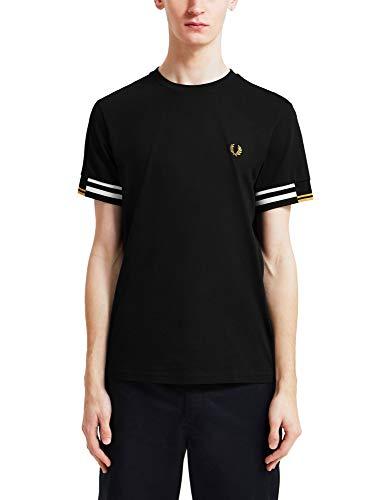 Fred Perry T Shirt Uomo Abstract Cuff Mezza Manica Nero M