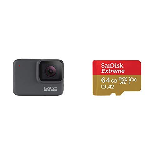 GoPro hero7 Argento 4 K Fotocamera d'azione impermeabile (fino a 10 m) con stabilizzazione video e vocale + Scheda di Memoria