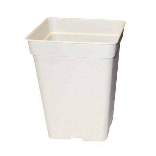 Florateck–Macetero cuadrado blanco 23x 23x 27,5cm–11L (fondo absorbente)