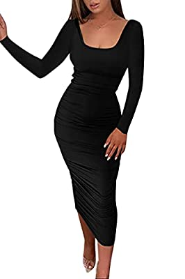 Material: Casual long sleeve dress, made of elastic polyester, Super soft, stretchy and lightweight, thick and breathable. show your curves perfectly. Features: Bodycon solid midi dress, stacked, slim fit, tight dress, backless, pancil dress, elegant...