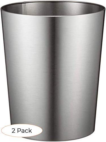 Idesign Patton Round Metal Trash Can Waste Basket Garbage Can For Bathroom Bedroom Home Office Dorm College 8 X 8 X 9 7 Brushed Stainless Steel Trash Can Reviews