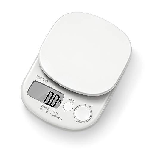 RANTOM はかり スケール 料理 1kg 0.1g デジタル ホワイト TGK-S202