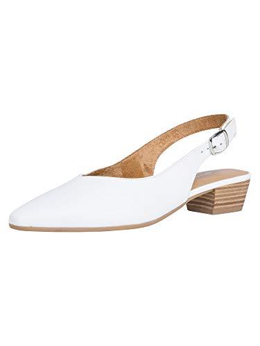 Tamaris Femme Escarpins 29405-24, Dame Escarpins à Bride arrière,Bride à la Cheville,Confortable,élégant,White Leather,38 EU / 5 UK