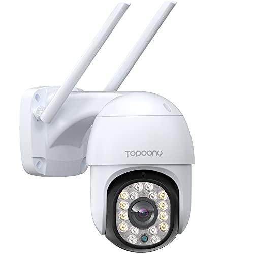 Telecamera di Sorveglianza con Visione Notturna a Colori 30m, Topcony 1080P PTZ Telecamera Wifi Esterno/Interno con Pan 355° e Tilt 90°, Tracciamento Automatico, Impermeabile IP66, Supporto ONVIF/NVR