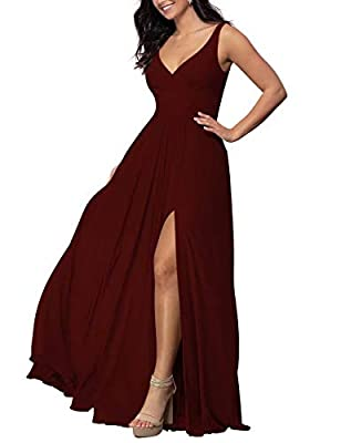 Soft Chiffon Materiial,Built-in Bra;Fully Liner; Comfortable to wear. V-Neck Side Slit Bridesmaid Dresses Long Womens Sleeveless Formal Dress Ruched Chiffon Maxi Dress for Wedding Party To wear perfectly,pls follow the size chart image on the left to...
