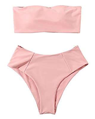 Style: Strapless bikini top off-shoulder, High waisted bikini bottom with high cut Chest Pad: Removable padding bra, women cute bikinis Perfect for SPA, swimming parties, tropical vacations, summer, beach & pool Fabric: Polyester+Spandex Size: S(US-2...