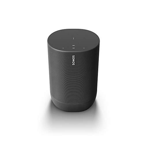 Sonos Move Smart Speaker (Wasserfester WLAN und Bluetooth Lautsprecher mit Alexa Sprachsteuerung, Google Assistant und AirPlay 2 – Kabellose Outdoor Musikbox mit Akku für Musikstreaming) schwarz
