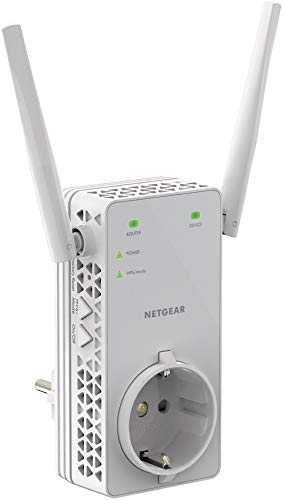 Netgear WLAN Repeater EX6130 WLAN Verstaerker & Super-Boost WiFi (integrierte Steckdose, AC1200 Dual Band, Abdeckung 2 bis 3 Räume & 20 Geräte, Geschwindigkeit bis zu 1200 MBit/s)