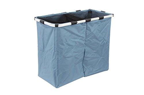 1PLUS faltbarer Wäschekorb Wäschesammler Wäschesortierer mit 2 Fächern, 100 L mit stabilem Aluminium Rahmen, 62 x 33 x 52 cm, blau