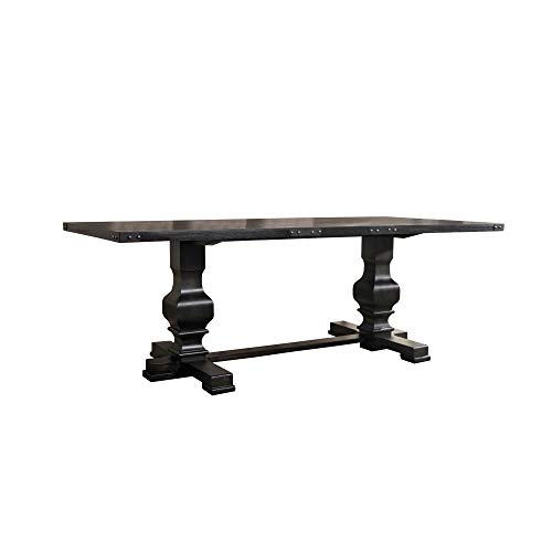 Benjara Wooden Rectangular Dining Table With Double Pedestal And Trestle Base, Black