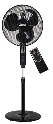 Standventilator mit Fernbedienung Ø41 cm | 50 Watt | Oszillierend | Leiser Betrieb | Ventilator | 180° Rotation | Turmventilator | Luftkühler | Bodenventilator (Frontier Black)