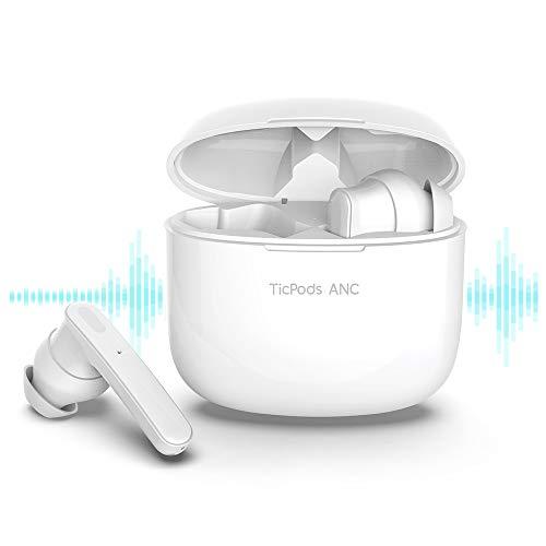 Auriculares TicPods ANC Bluetooth 5.0 con cancelación Activa de Ruido, Auriculares Resistentes al Agua IPX5 con Auriculares inalámbricos, Auriculares con Control táctil