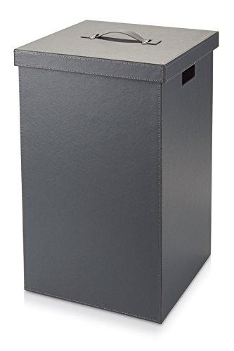 Möve Cube Wäschekorb, Kunstleder, Grau, 37 x 37 x 59 cm