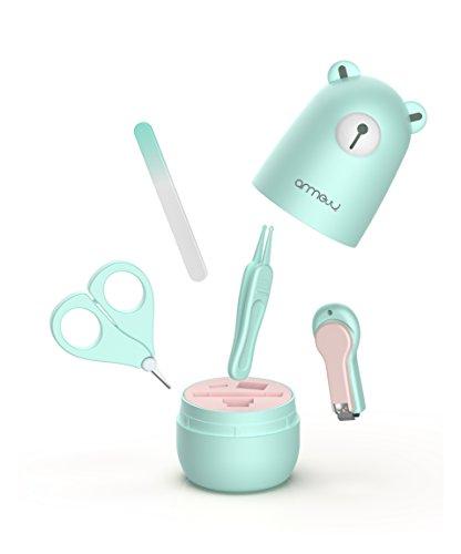 Baby 4in1 Pflege-Set für Fingernägel und Fußnägel mit Nagelknipser, Nagelschere, Nagelfeile und Pinzette für Kinder und Neugeborene in süßer Bären Geschenk-Verpackung, Minze(Mint)