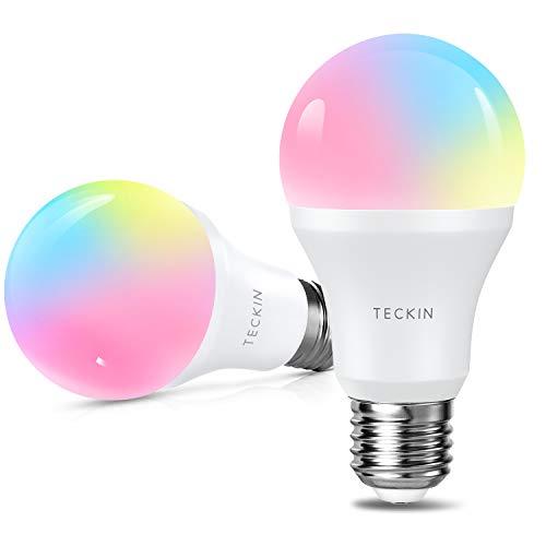 Ampoule LED Intelligente WiFi E27 à intensité variable et multicolore, Compatible avec Alexa, Echo, Google Home,TECKIN RGB Ampoule A19 60W 7,5W,Pas de Hub requis (2 pack)
